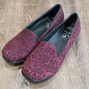 Dansko purple embossed floral suede slip on shoes